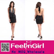 Black Backless Midi Skirt Wholesale Bandage Dress Online Shopping