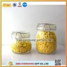 with glass lid clip locked glass spice jar SJ-9608