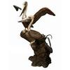 "Bronze Two Pelicans at Rest Fountain Statue H65"" Brass Bird Sculpture"