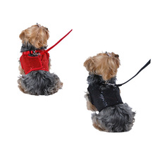 Pet Dog Sequin Jersey Soft Harness with Leash