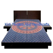 KTBS-5 Jaipur wholesale Cotton bed sheets mandala hand block printed Tapestry Traditional Indian new bed sheet designs