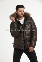 2014 New Arrival Men's Coffee Down Jacket With Fur Collar