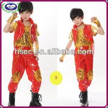 çin toptan modern tasarım kırmızı altın paillette çocuklar çocuklar dans kostümleri giysi caz hip hop dans giymek