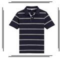 stretch listrada camisa polo para homens tecido