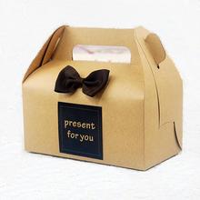 Elegant kraft cake box for your dessert / Fashion kraft cake box with handle