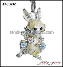 Hot Sale Crystal and Enamel Rabbit Fancy Keychain