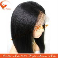 Wholesale premium 1# 100% unprocessed virgin Peruvian human hair yaki straight lace wig