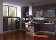 2015 modern purple design kitchen cabinets with visible handle