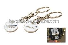 High Quality Custom Engraving logo Trolley Coin Key Chain/Coin Key Ring
