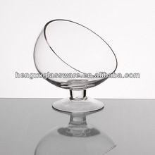 decorative slanted clear goblet,handmade cheap clear martini glass vase