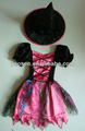 Los niños de color rosa de hadas de la bruja traje con sombrero de la bruja para Halloween