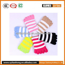 Cotton knitted striped five fingers sock