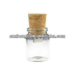 glass bottle shaped usb flash drive/ fancy cork usb stick