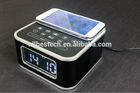 Black Bluetooth Alarm Clock Speaker with wireless charging function(qi)