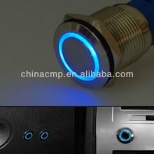 19mm Blue LED Ultra Flush Light SPDT On Off Push Switch Ring LED cars Button angel eye
