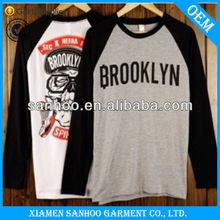 Men Fashion Cotton Customized Long Sleeve Baseball Tshirt