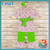 Pink and Lime baby clothing sets short sleeve Tops dress set children clothing set