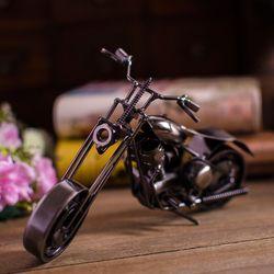 Iron retro ornaments textured metal sliding rotating metal motorcycle model black B0724