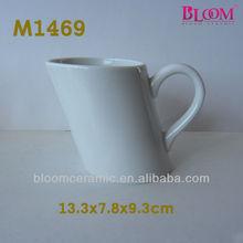 Factory direct sale plain wholesale coffee mug,slant mug