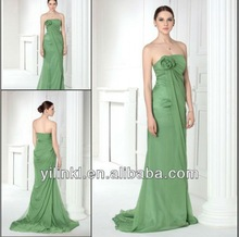 Strapless Fairy Style Long Length with Flower on Bust Chiffon Aqua turquoise Cheap Made In China Bridesmaid Dresses 2014