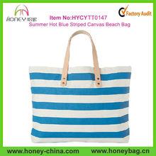 2014 Latest Fashion Summer Hot Blue Striped Canvas Beach Tote Bag