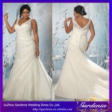 Haute qualité sirène col en V Strap Sheer Applique Organza Vintage Plus voyant de robe de mariée