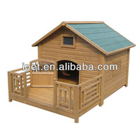 Wooden dog kennel wholesale with balcony DK006