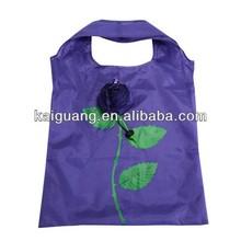 2014 flower polyester shopping bag foldable/foldable polyester tote bag