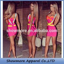 Style Number W550 Fuchsia bandage bodycon crisscross strap beautiful mature women bandage dress