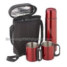 2014 de acero inoxidable frasco de vacío de los regalos fijados 2 unids tazas de café + 500 ml frasco de vacío con sistemas del bolso