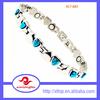 Fashion Stainless Steel Blue Glass Stone Bracelet Design for Ladies