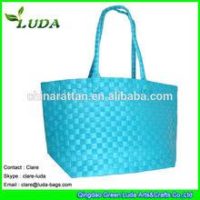 LUDA Waterproof PP Straw Tote Bag 100%Handmade straw Beach Bag