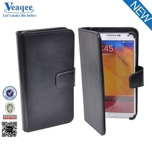 Veaqee black leather flip case cover for samsung galaxy note 2 n7100