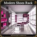 Muebles de exhibición de moda para tienda de muebles de zapatos con expositor de madera de zapatos y plataforma de soporte