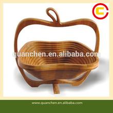 Lovely Foldable Apple Shaped Bamboo Fruit Basket
