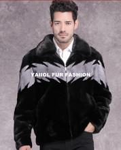 mk14373 Men's fashionable casual black mink fur coat
