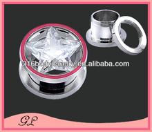 Pentagram zircon with red line plug tunnels ear expander body jewelry