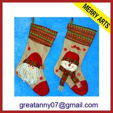 wholesale new design family fiber optic christmas socks ornament with santa face