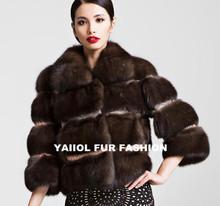 mk14387 2014 fashionable short style brown sable fur coat women