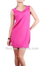 2014 fashion pink ladies dress ladies simple fashion dress