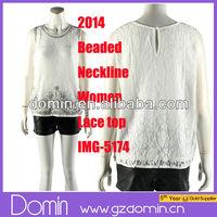 Fashion Beaded Neckline Design Sleeveless Embellished Women Lace Beaded Top