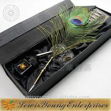 2015 gift feather dip pen set, wedding gift set, natural peacock feather pen, fountain nib pen