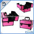 De color rosa mld-cc606 pesado deber de la pu de cuero de cocodrilo de maquillaje de viaje joyería caso alminium para la visualización de almacenamiento