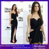 Sexy Hollow Side Slit Sheath Halter Floor Length Black Chiffon Selena Gomez Dresses Backless Celebrity Red Carpet Dresses