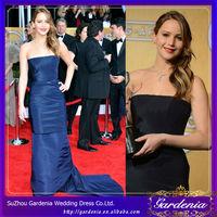 2014 Jennifer Lawrence Dresses Sheath Strapless Floor Length Navy Blue Taffeta Celebrity Long Dresses
