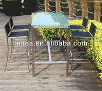 outdoor metal bar furniture glass top high table fabric bar stool