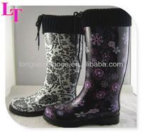 woolen yarn cuff ruber rain boots