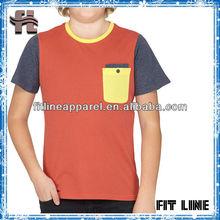 2014 fashion children t-shirt/ chest pocket kids cotton t-shirt
