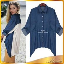 Denim Shirts Wholesale 2014 New Long Sleeve Lady Summer Denim Shirts Women