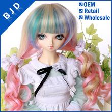 Professional Doll Wig Factory YG02 pink doll wigs doll wig